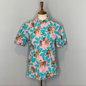 Chubbies Pink Tiger Leaf Print Men's Shirt Small S